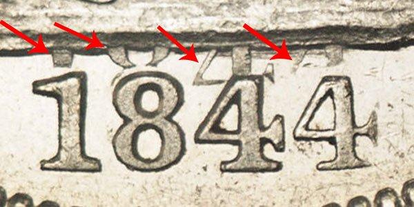 1844 O Seated Liberty Half Dollar - Doubled Date DDO Error