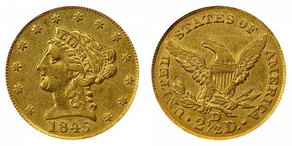 1845 D Liberty Head $2.50 Gold Quarter Eagle - 2 1/2 Dollars
