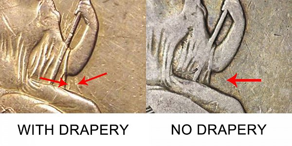 1845 O With Drapery Vs No Drapery Seated Liberty Half Dollar - Difference and Comparison