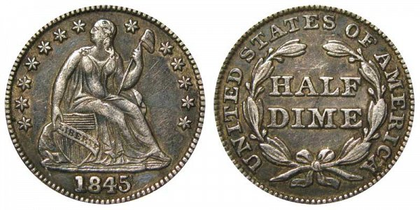 1845 Seated Liberty Half Dime