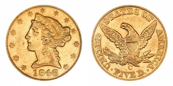 1846 C Liberty Head $5 Gold Half Eagle - Five Dollars