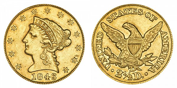 1846 D Liberty Head $2.50 Gold Quarter Eagle - 2 1/2 Dollars