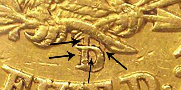 1846-D/D $5 Liberty Head Gold Half Eagle - Example Closeup Image