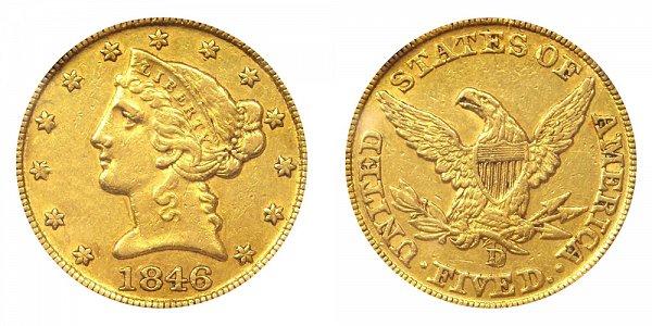 1846-D/D Liberty Head $5 Gold Half Eagle - Five Dollars - High D Over D