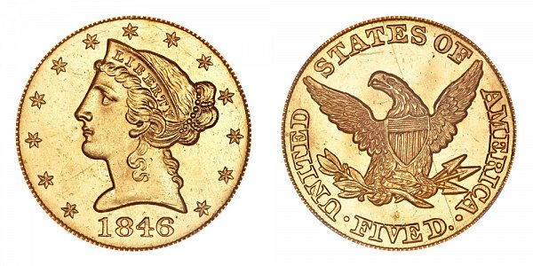 1846 Liberty Head $5 Gold Half Eagle - Five Dollars - Large Date