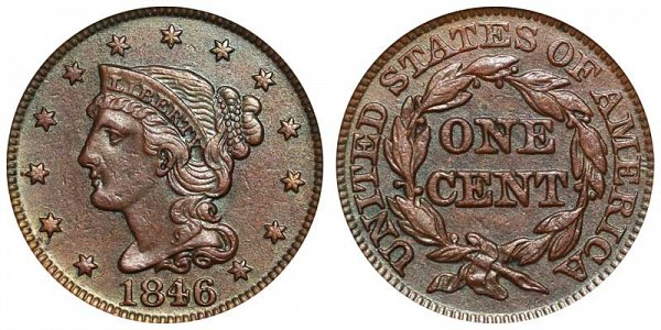 1846 Braided Hair Large Cent Penny - Medium Date