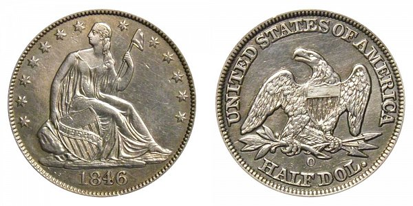 1846 OSeated Liberty Half Dollar - Medium Date