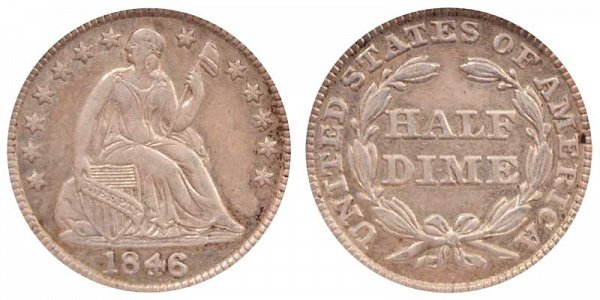 1846 Seated Liberty Half Dime