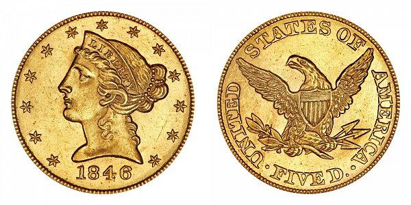 1846 Liberty Head $5 Gold Half Eagle - Five Dollars - Small Date
