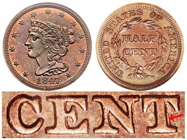 1847 Braided Hair Half Cent Penny - First Restrike