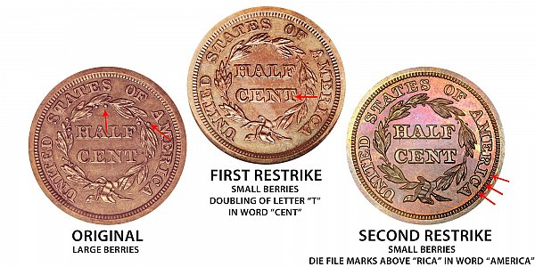 1847 Original vs First Restrike vs Second Restrike Braided Hair Half Cent - Difference and Comparison
