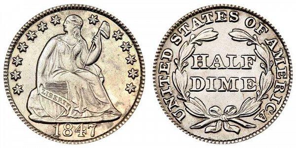1847 Seated Liberty Half Dime
