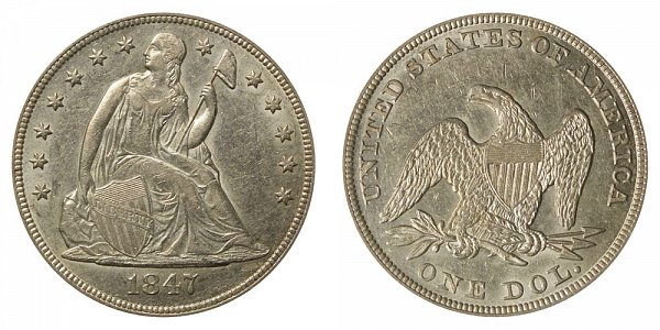 1847 Seated Liberty Silver Dollar