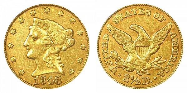 1848 C Liberty Head $2.50 Gold Quarter Eagle - 2 1/2 Dollars
