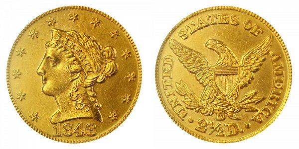 1848 D Liberty Head $2.50 Gold Quarter Eagle - 2 1/2 Dollars