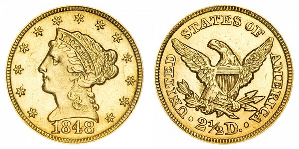 1848 Liberty Head $2.50 Gold Quarter Eagle - 2 1/2 Dollars