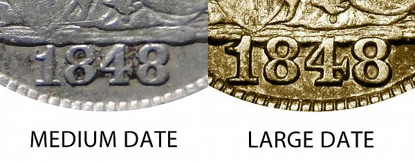 1848 Medium Date vs Large Date Seated Liberty Half Dime - Difference and Comparison