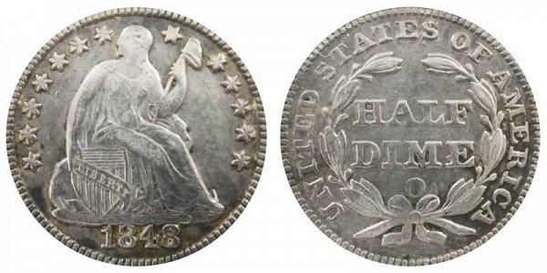 1848 O Seated Liberty Half Dime