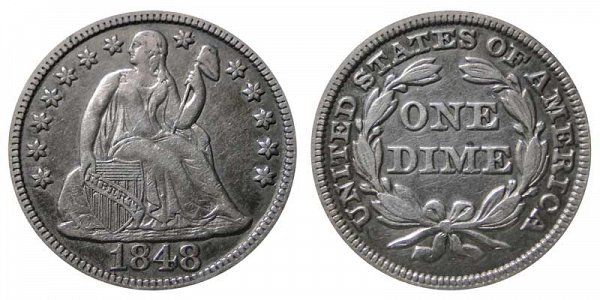 1848 Seated Liberty Dime