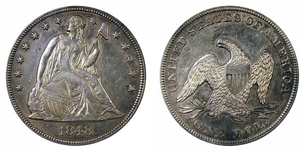 1848 Seated Liberty Silver Dollar