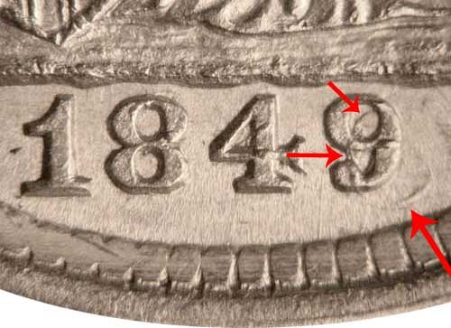 1849/6 Seated Liberty Half Dime - 9 Over Widely Placed 6 Overdate Error