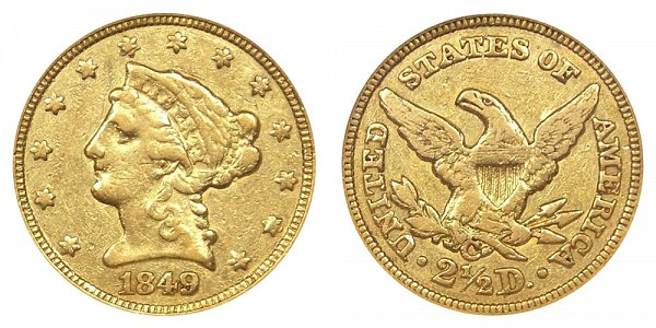 1849 C Liberty Head $2.50 Gold Quarter Eagle - 2 1/2 Dollars