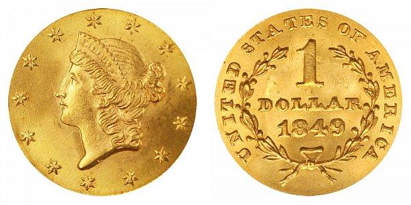 1849 Liberty Head Gold Dollar G$1 - Closed Wreath
