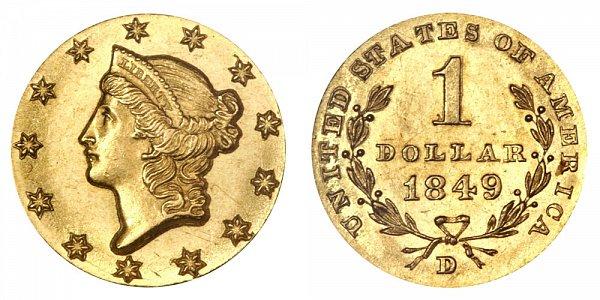 1849 D Liberty Head Gold Dollar G$1 - Open Wreath
