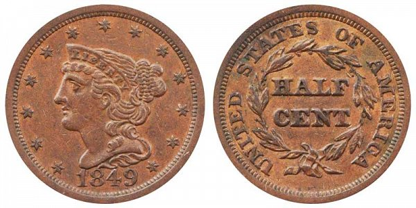 1849 Braided Hair Half Cent Penny - Large Date