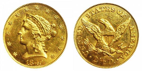 1849 Liberty Head $2.50 Gold Quarter Eagle - 2 1/2 Dollars