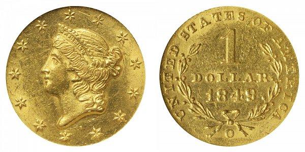 1849 O Liberty Head Gold Dollar G$1 - Open Wreath