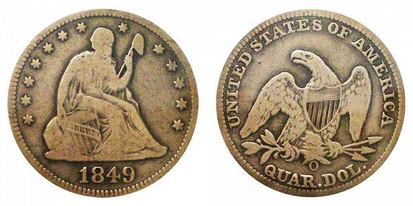 1849 O Seated Liberty Quarter