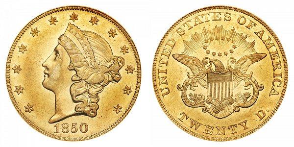 1850 Liberty Head $20 Gold Double Eagle - Twenty Dollars