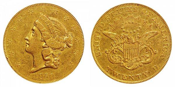 1850 O Liberty Head $20 Gold Double Eagle - Twenty Dollars