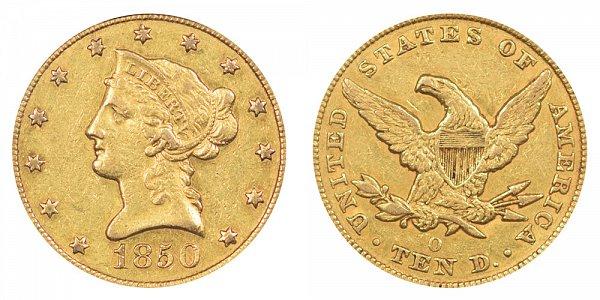 1850 O Liberty Head $10 Gold Eagle - Ten Dollars