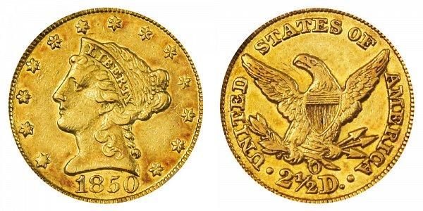 1850 O Liberty Head $2.50 Gold Quarter Eagle - 2 1/2 Dollars