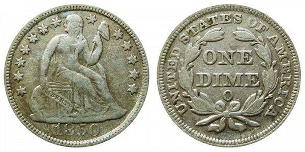 1850 O Seated Liberty Dime