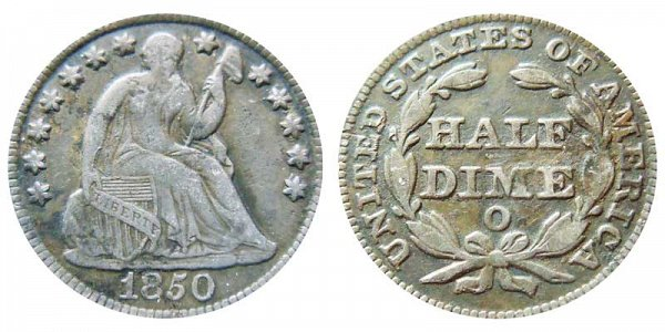 1850 O Seated Liberty Half Dime
