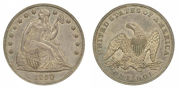1850 Seated Liberty Silver Dollar