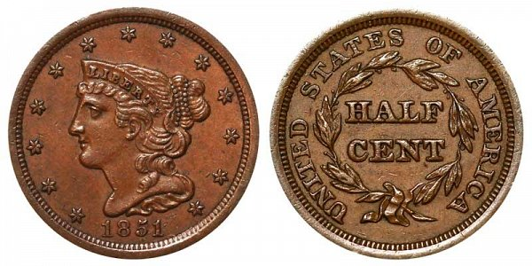1851 Braided Hair Half Cent Penny