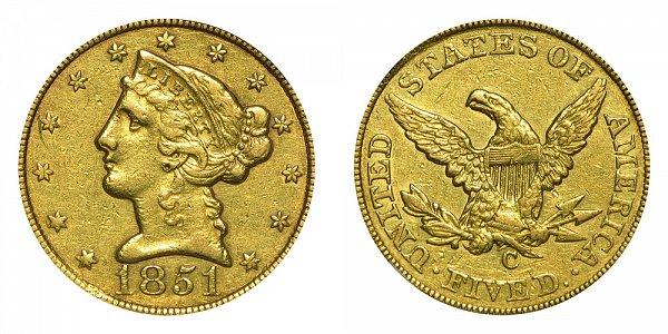 1851 C Liberty Head $5 Gold Half Eagle - Five Dollars