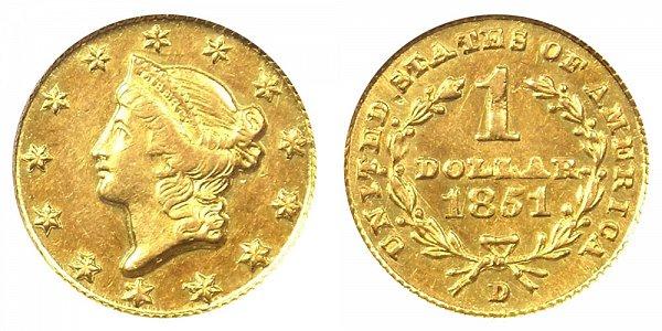 1851 D Liberty Head Gold Dollar G$1