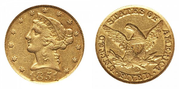 1851 D Liberty Head $5 Gold Half Eagle - Five Dollars