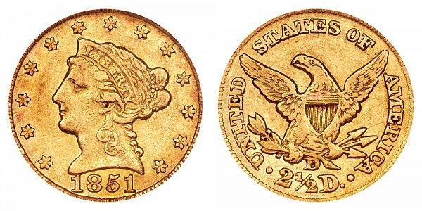 1851 D Liberty Head $2.50 Gold Quarter Eagle - 2 1/2 Dollars