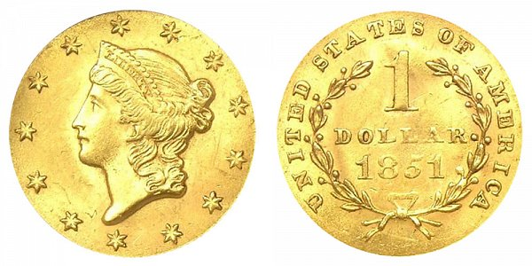 1851 Liberty Head Gold Dollar G$1