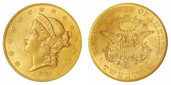 1851 Liberty Head $20 Gold Double Eagle - Twenty Dollars