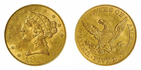 1851 Liberty Head $5 Gold Half Eagle - Five Dollars