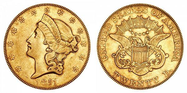 1851 O Liberty Head $20 Gold Double Eagle - Twenty Dollars