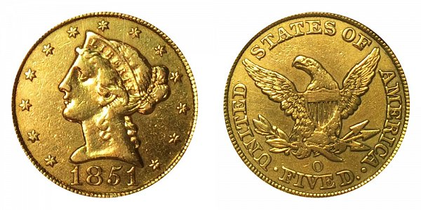 1851 O Liberty Head $5 Gold Half Eagle - Five Dollars
