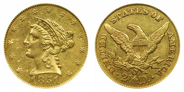 1851 O Liberty Head $2.50 Gold Quarter Eagle - 2 1/2 Dollars